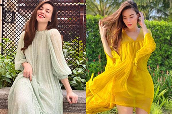 Hồ Ngọc Hà rạng rỡ với váy dáng rộng