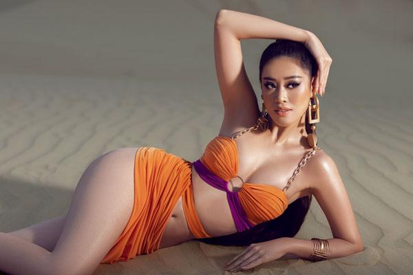 Hoa hậu Khánh Vân khoe body nóng bỏng trong tone màu cam rực rỡ